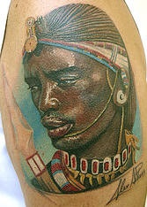 African warrior tattoo on the shoulder