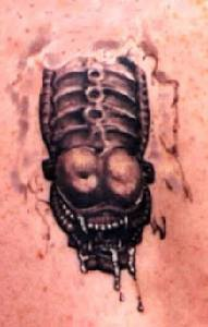 Chestburster realistic tattoo