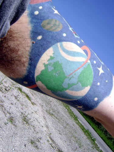 view on planet earth from space coloured tattoo. Black Bedroom Furniture Sets. Home Design Ideas