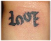 Ambigram word love tattoo