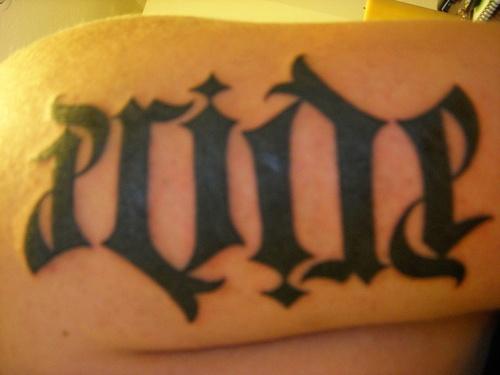 Ambigram word pride tattoo
