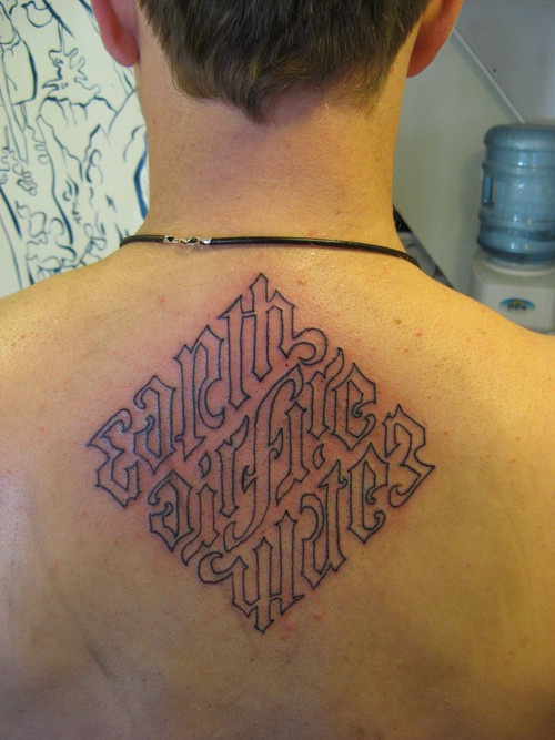 Ambigram earth air fire water text great tattoo
