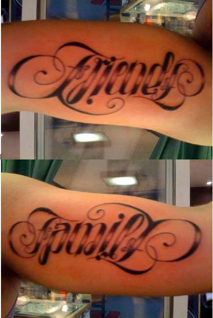 Ambigram word friend with great font