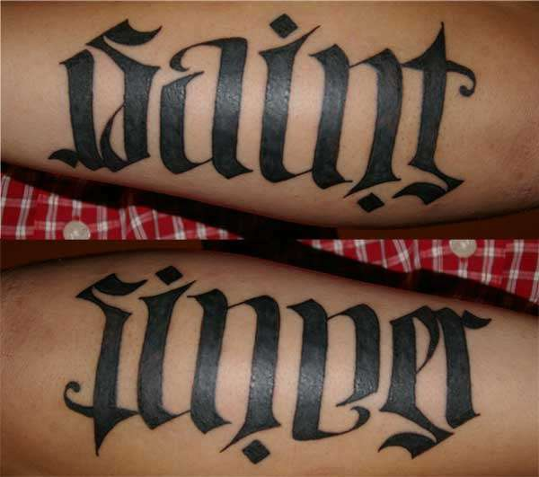 Ambigram text saint and sinner