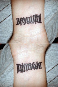 Ambigram word beautiful tattoo