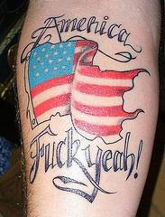 Coloured usa flag murika tattoo