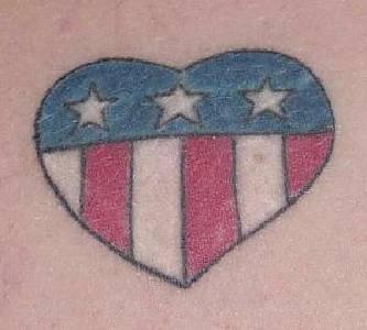 American flag in heart tattoo