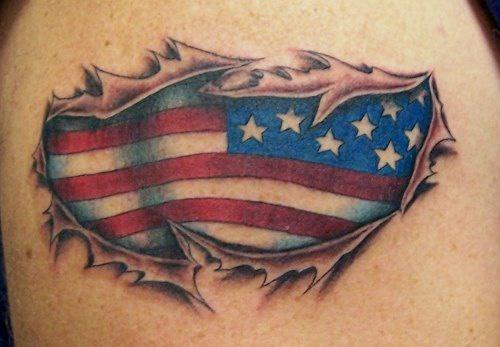 Skin rip tattoo with american flag