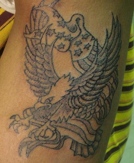 American eagle black ink tattoo