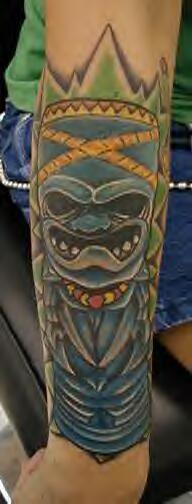 Blue indian totem deity tattoo