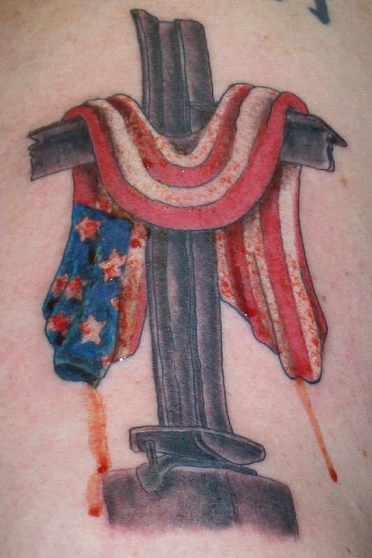 American flag on cross tattoo