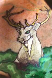 Majestic white deer tattoo art