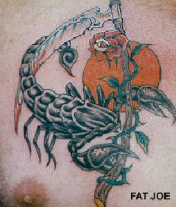 Scorpion on scythe  with rose