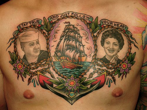 Great sailing vessel art on chest finished tattoo