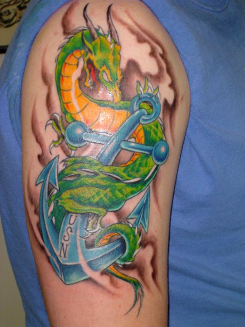 Green dragon on anchor navy tattoo