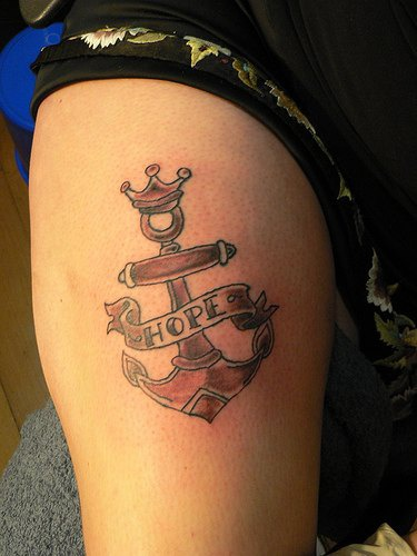 Old school anchor tattoo with hope word