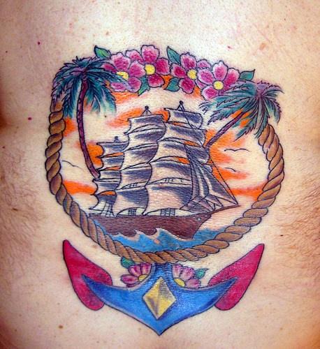 Nave a vela colorato tatuato