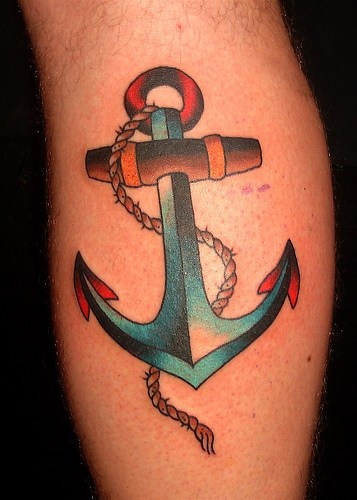 Classic steel anchor tattoo in colour