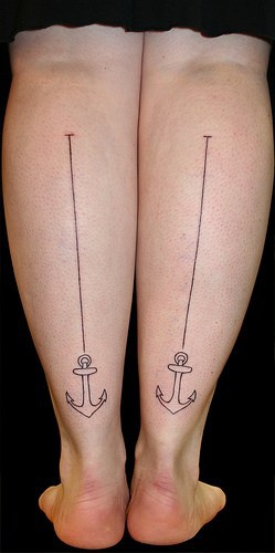 Anchor with waterline tattoo on both feet
