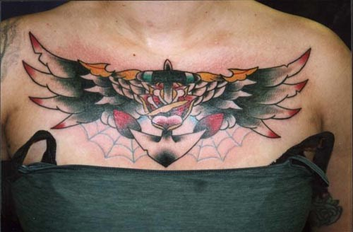 Wings and steel sailing tattoo