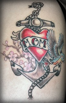 Love mom tattoo with anchor sparrow and sakura