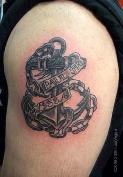 Mannlicher Anker Tattoo Mit Namen Darauf Tattooimages Biz