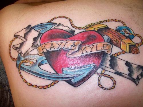 Kayla love kyle tattoo with heart and anchor