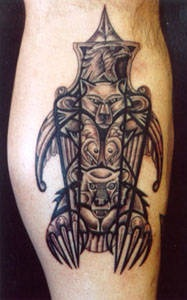 Totem pole with animals art