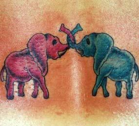 Blue and pink elephants tattoo