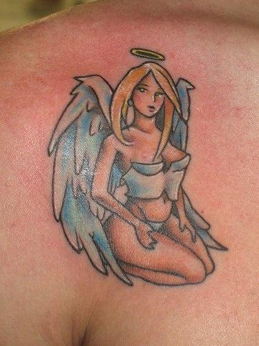 Anime style angel girl coloured tattoo