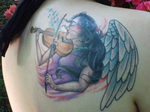Imagenes Tatuajes Violin tatuaje chica ángel tocando en el violín - tattooimages.biz