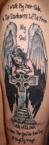 Poetry and angel on tombstone tattoo