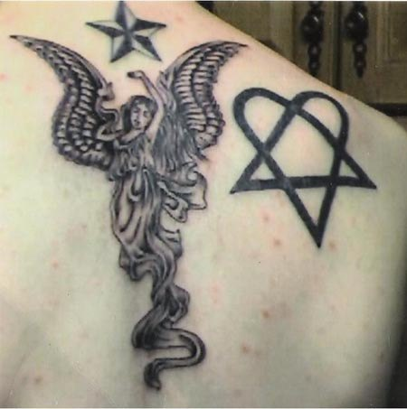 Him symbol and rising to star angel