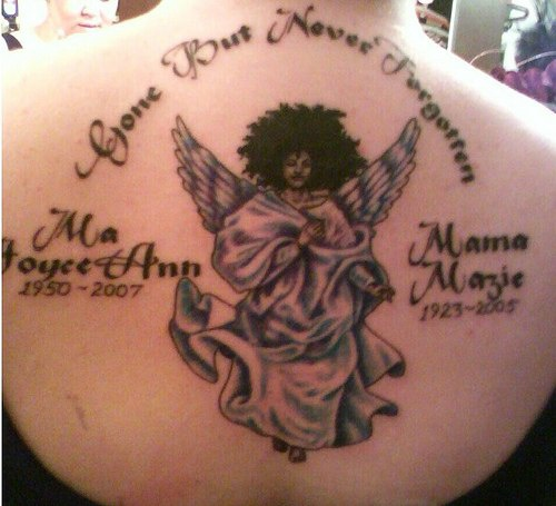 Gone but never forgotten tattoo on back