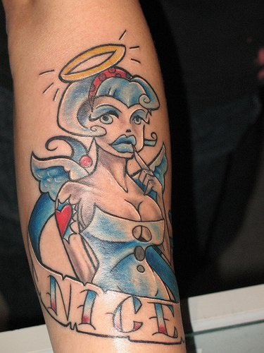 Sexy angel tattoo in colour