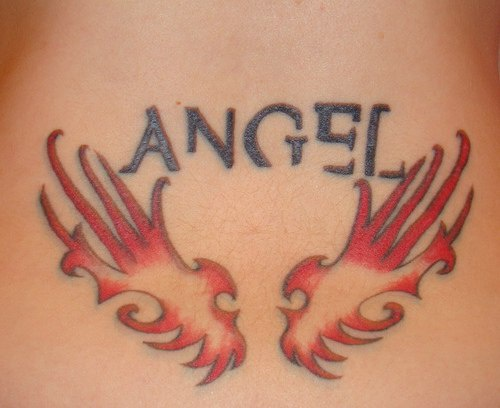 Angel lettering and red wings tattoo