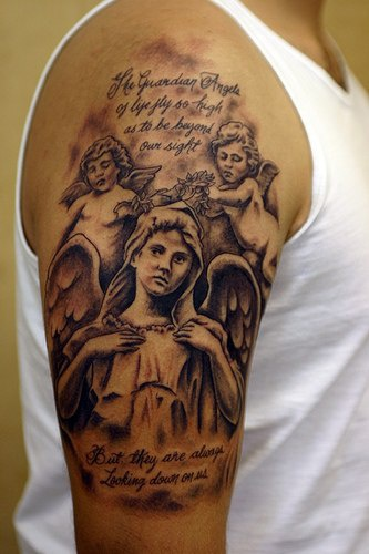 Angel and cherubs tattoo on shoulder