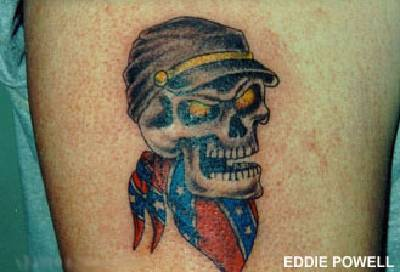 Skull with confederate flag  tattoo