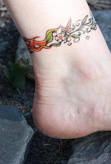 Flower bangle ankle tattoo
