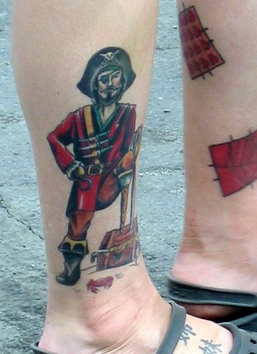 Pirate ankle tattoo