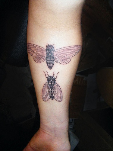 Two flies arm tattoo