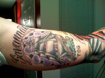 Savannah ship arm tattoo