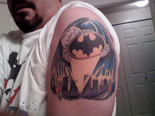 Bat in night city arm tattoo
