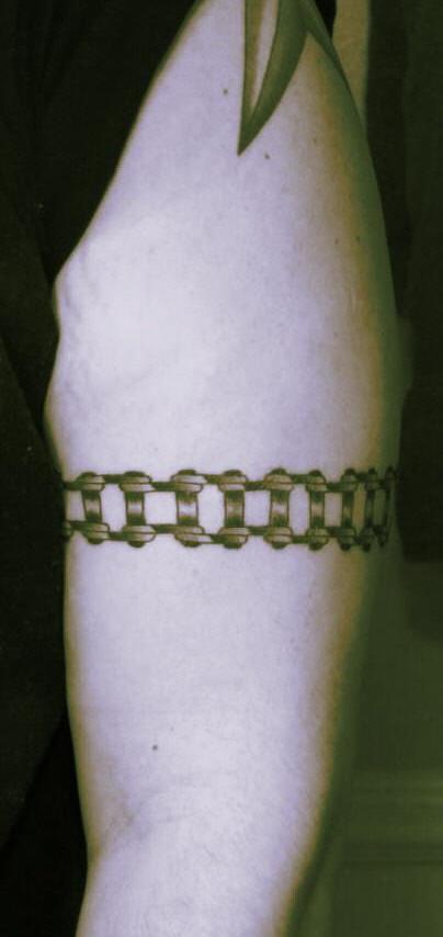Railroad arm band tattoo