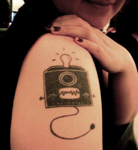 Square lamp arm tattoo