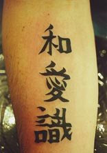 Asian writings tattoo on hand