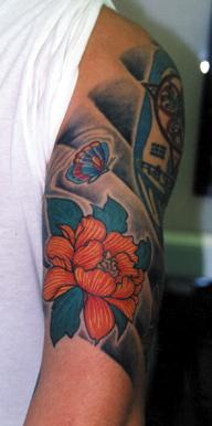 Asian style butterfly and flower coloured tattoo
