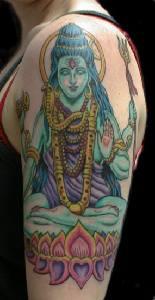 Peaceful vishnu deity colourful tattoo