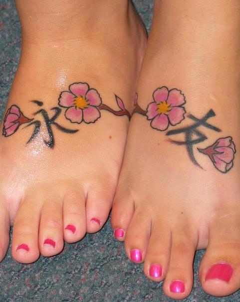 Asian friendship symbol on feet tattoos