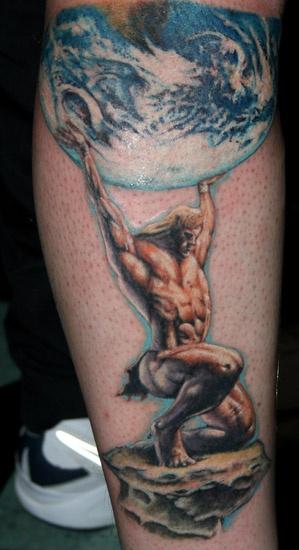 Leg tattoo,atlas, Titan is holding planet on knees